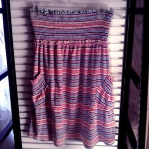 Terry Cloth Striped Swim Cover Up w/ side pockets